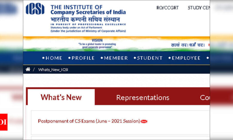 cs exam postponed: ICSI CS June 2021 exams postponed